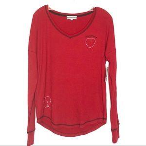 NWT PJ Salvage Red Heart Waffle Knit PJ Top